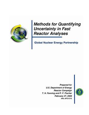 Primary view of object titled 'Methods for quantifying uncertainty in fast reactor analyses.'.