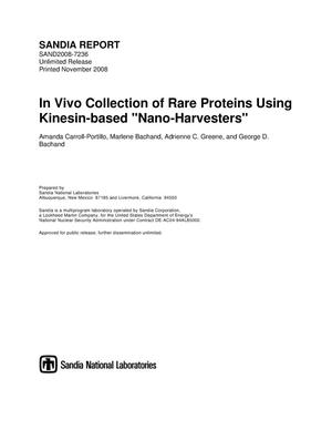 "Primary view of object titled 'In vivo collection of rare proteins using kinesin-based ""nano-harvesters"".'."