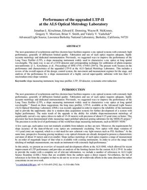 Primary view of object titled 'Performance of the upgraded LTP-II at the ALS Optical Metrology Laboratory'.
