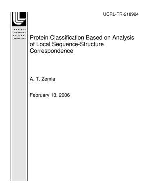 Primary view of object titled 'Protein Classification Based on Analysis of Local Sequence-Structure Correspondence'.