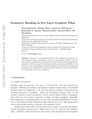 Primary view of object titled 'Symmetry Breaking in Few Layer Graphene Films'.