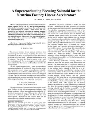 Primary view of object titled 'A superconducting focusing solenoid for the neutrino factorylinear accelerator'.