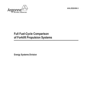 Primary view of object titled 'Full fuel-cycle comparison of forklift propulsion systems.'.