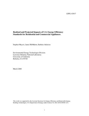 Primary view of object titled 'Realized and Projected Impacts of U.S. Energy Efficiency Standards for Residential and Commercial Appliances'.