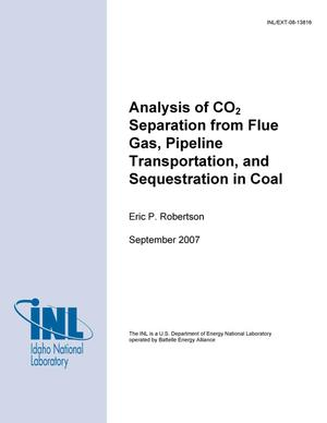 Primary view of object titled 'Analysis of CO2 Separation from Flue Gas, Pipeline Transportation, and Sequestration in Coal'.