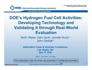 Primary view of object titled 'DOE's Hydrogen Fuel Cell Activities: Developing Technology and Validating it through Real-World Evaluation (Presentation)'.