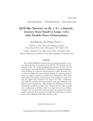 Primary view of object titled 'QCD-like Theories on R_3\times S_1: a Smooth Journey from Small to Large r(S_1)with Double-Trace Deformations'.