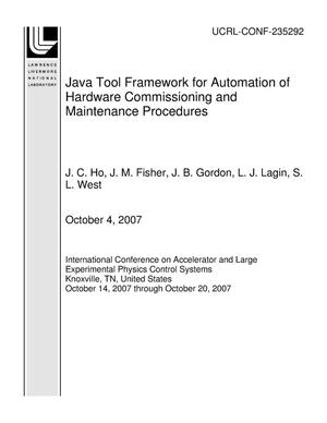 Primary view of object titled 'Java Tool Framework for Automation of Hardware Commissioning and Maintenance Procedures'.