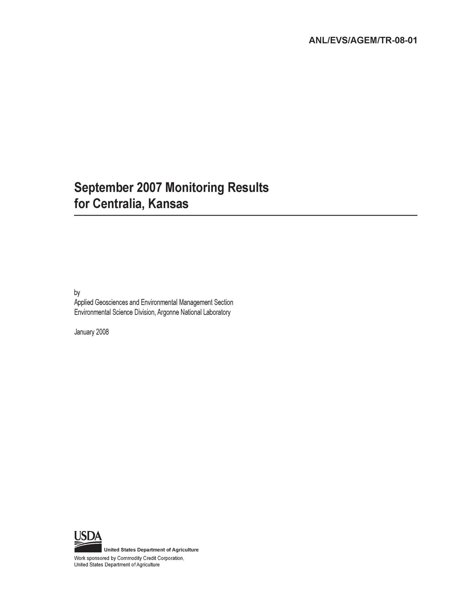 September 2007 monitoring results for Centralia, Kansas.                                                                                                      [Sequence #]: 3 of 50