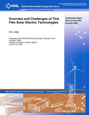 Primary view of object titled 'Overview and Challenges of Thin Film Solar Electric Technologies'.