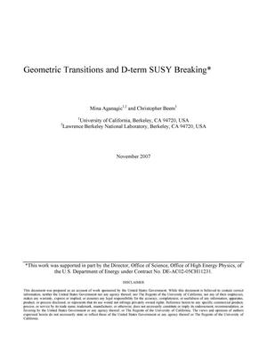 Primary view of object titled 'Geometric transitions and D-term SUSY breaking'.