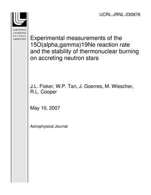 Primary view of object titled 'Experimental measurements of the 15O(alpha,gamma)19Ne reaction rate and the stability of thermonuclear burning on accreting neutron stars'.
