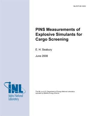 Primary view of object titled 'PINS Measurements of Explosive Simulants for Cargo Screening'.