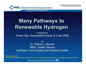 Primary view of object titled 'Many Pathways to Renewable Hydrogen (Presentation)'.