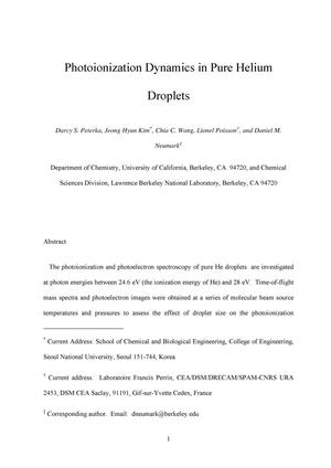 Primary view of object titled 'Photoionization Dynamics in Pure Helium Droplets'.