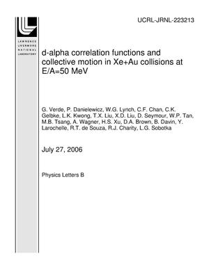 Primary view of object titled 'd-alpha correlation functions and collective motion in Xe+Au collisions at E/A=50 MeV'.