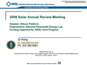Primary view of object titled 'NREL Core Program, Session: Silicon Platform (Presentation)'.