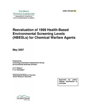 Primary view of object titled 'Reevaluation of 1999 Health-Based Environmental Screening Levels (HBESLs) for Chemical Warfare Agents'.
