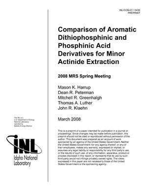 Primary view of object titled 'Comparison of Aromatic Dithiophoshinic and Phosphinic Acid Derivatives for Minor Actinide Extraction'.