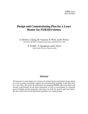 Primary view of object titled 'Design and Commissioning Plan for a Laser Heater for FERMI@elettra'.