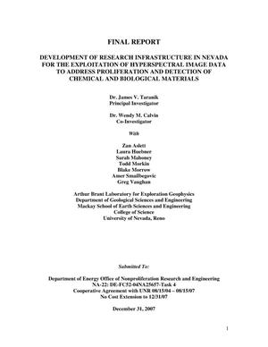 Primary view of object titled 'Development of Research Infrastructure in Nevada for the Exploitation of Hyperspectral Image Data to Address Proliferation and Detection of Chemical and Biological Materials.'.