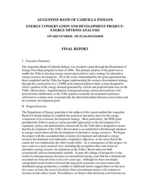 Primary view of object titled 'Augustine Band of Cahuilla Indians Energy Conservation and Options Analysis - Final Report'.