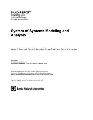 Primary view of object titled 'System of systems modeling and analysis.'.