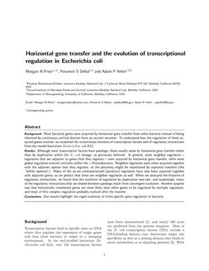 Primary view of object titled 'Horizontal gene transfer and the evolution of transcriptionalregulation in Escherichia coli'.