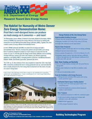 Primary view of object titled 'Habitat for Humanity of Metro Denver Zero Energy Demonstration Home'.