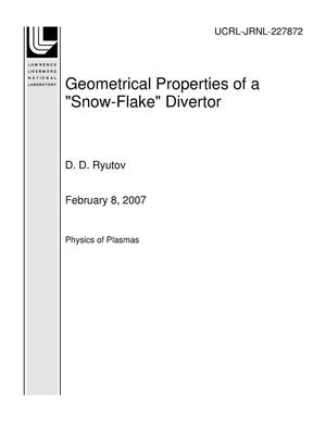 "Primary view of object titled 'Geometrical Properties of a ""Snow-Flake"" Divertor'."