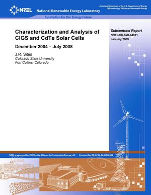 Primary view of object titled 'Characterization and Analysis of CIGS and CdTE Solar Cells: December 2004 - July 2008'.