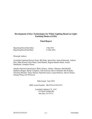 Primary view of object titled 'Development of Key Technologies for White Lighting Based on Light-Emitting Diodes (LEDs)'.