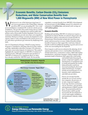 Primary view of object titled 'Economic Benefits, Carbon Dioxide (CO2) Emissions Reductions, and Water Conservation Benefits from 1,000 Megawatts (MW) of New Wind Power in Pennsylvania (Fact Sheet)'.