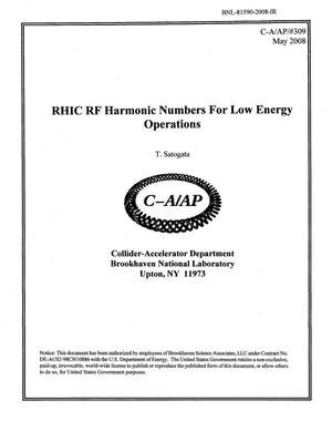 Primary view of object titled 'RHIC RF Harmonic Numbers for Low Energy Operations'.