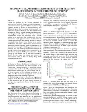 Primary view of object titled 'Microwave Transmission Measurements of the Electron Cloud density In the Positron Ring of PEP-II'.