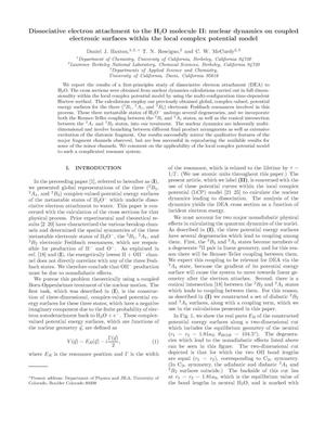 Primary view of object titled 'Dissociative electron attachment to the H2O molecule II: nucleardynamics on coupled electronic surfaces within the local complexpotential model'.