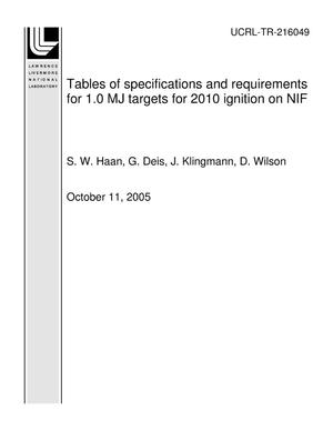 Primary view of object titled 'Tables of specifications and requirements for 1.0 MJ targets for 2010 ignition on NIF'.