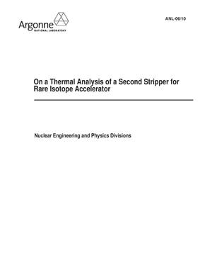 Primary view of object titled 'On a thermal analysis of a second stripper for rare isotope accelerator.'.