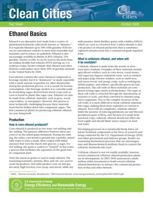 Primary view of object titled 'Clean Cities: Ethanol Basics, Fact Sheet, October 2008'.