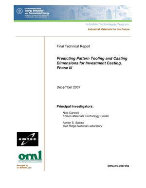 Primary view of object titled 'Predicting Pattern Tooling and Casting Dimensions for Investment Casting, Phase III'.