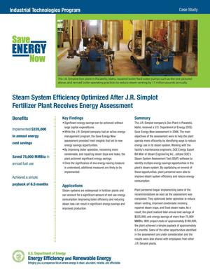 Primary view of object titled 'Steam System Efficiency Optimized After J.R. Simplot Fertilizer Plant Receives Energy Assessment'.