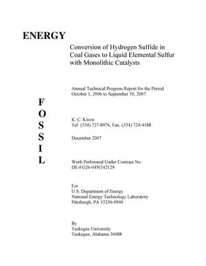 Primary view of object titled 'Conversion of Hydrogen Sulfide in Coal Gases to Liquid Elemental Sulfur with Monolithic Catalysts'.