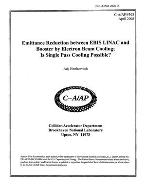 Primary view of object titled 'Emittance Reduction between EBIS LINAC and Booster by Electron Beam Cooling; Is Single Pass Cooling Possible?'.
