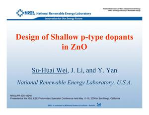 Primary view of object titled 'Design of Shallow p-type Dopants in ZnO (Presentation)'.
