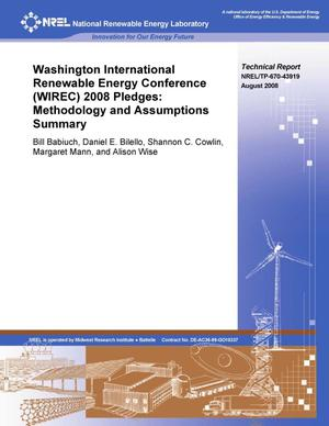 Primary view of object titled 'Washington International Renewable Energy Conference 2008 Pledges: Methodology and Assumptions Summary'.