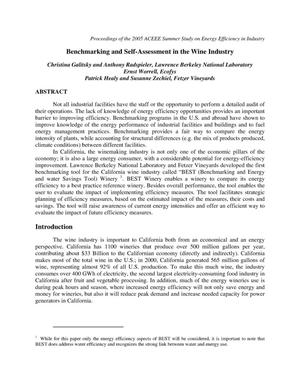 Primary view of object titled 'Benchmarking and Self-Assessment in the Wine Industry'.