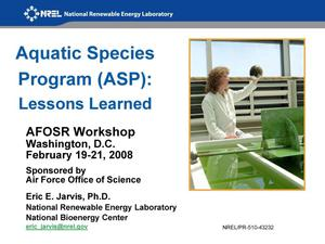 Primary view of object titled 'Aquatic Species Program (ASP): Lessons Learned'.