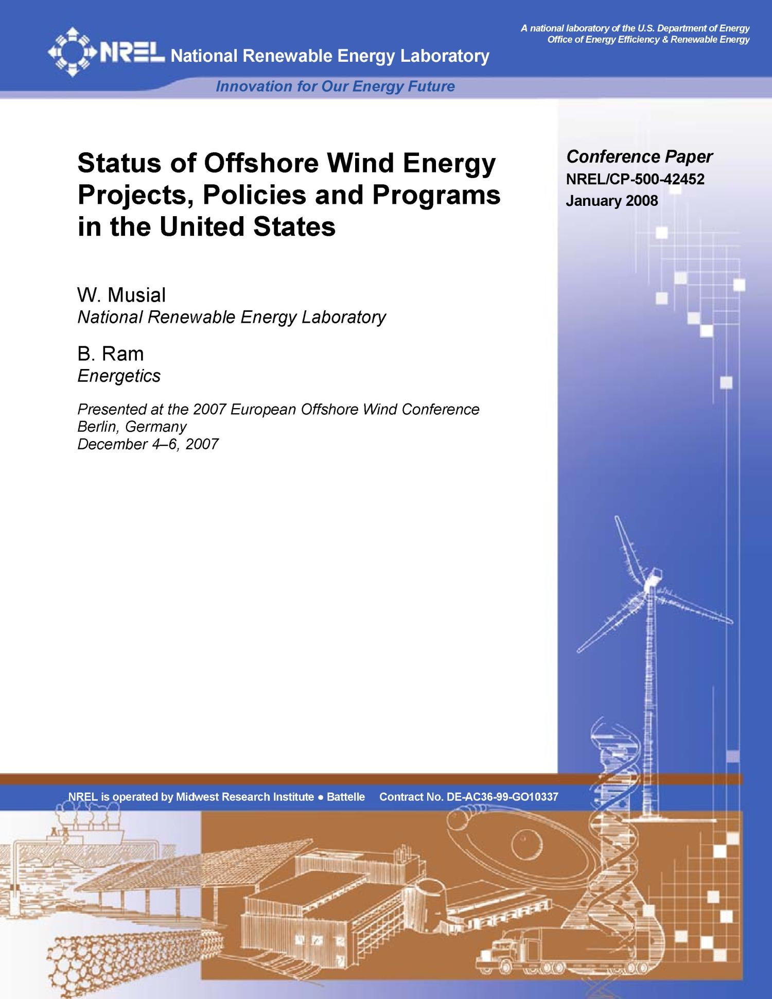 Status of Offshore Wind Energy Projects, Policies and Programs in the United States                                                                                                      [Sequence #]: 1 of 14