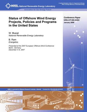 Primary view of object titled 'Status of Offshore Wind Energy Projects, Policies and Programs in the United States'.