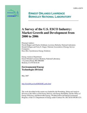 Primary view of object titled 'A Survey of the U.S. ESCO Industry: Market Growth and Developmentfrom 2000 to 2006'.